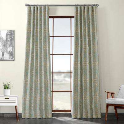 Camille Sky Blue Printed Linen Textured Blackout Curtain - 50 in. W x 84 in. L (1-Panel)