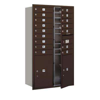 55 in. H x 31-1/8 in. W Bronze Front Loading 4C Horizontal Mailbox with 16 MB1 Doors/2 PL6's