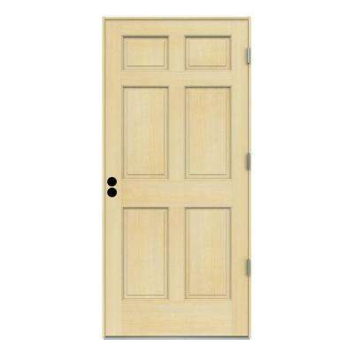 6panel unfinished hemlock prehung front door with primed white auralast jamb