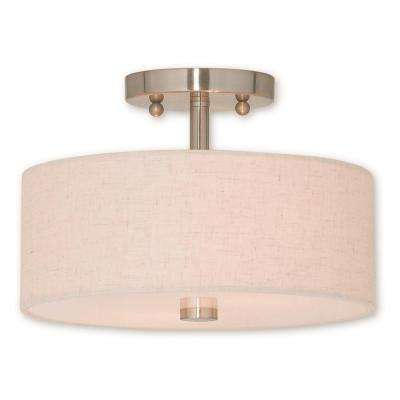 Meridian 2-Light Brushed Nickel Semi-Flushmount