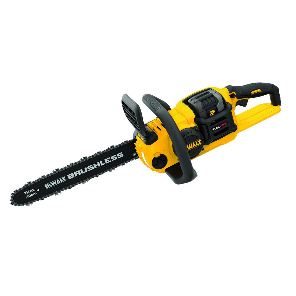 DEWALT 60-Volt MAX Lithium-Ion Cordless FLEXVOLT Brushless 16 in. Chainsaw w/ (1) 2.0Ah Battery and Charger