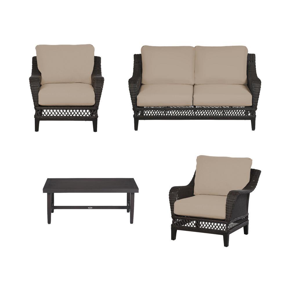 Woodbury 4-Piece Dark Brown Wicker Outdoor Patio Seating Set with Sunbrella Beige Tan Cushions