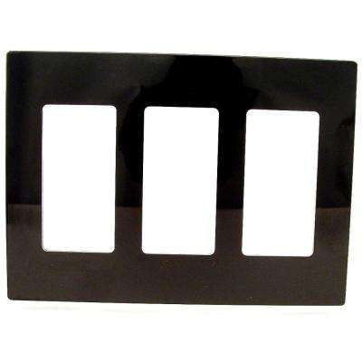 Decora 3-Gang Screwless Wallplate, Black