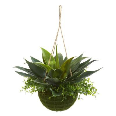 Indoor/Outdoor Agave and Maiden Hair Artificial Plant in Hanging Basket