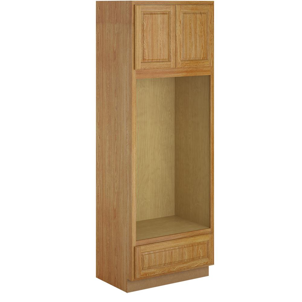 Madison Assembled 33x96x24 in. Pantry/Utility Double Oven Cabinet in Medium Oak