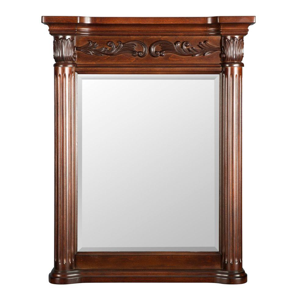 Belle Foret Estates 28 in. W x 34 in. L Wall Mirror in Rich Mahogany ...