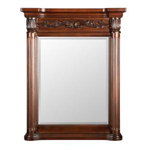 Belle Foret Estates 28 inch W x 34 inch L Wall Mirror in Rich Mahogany by Belle Foret