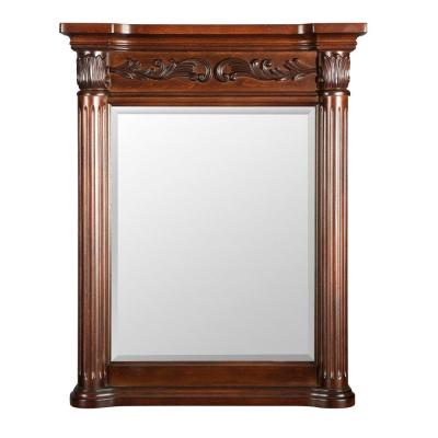Estates 28 in. W x 34 in. L Wall Mirror in Rich Mahogany
