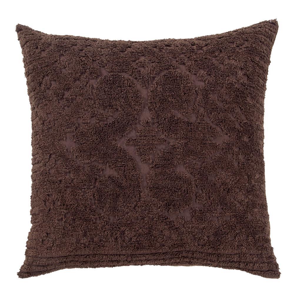 Ashton Collection in Medallion Design Chocolate Euro 100% Cotton Tufted Chenille Sham