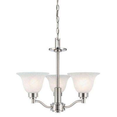 3-Light Brushed Nickel Interior Chandelier with Frosted White Alabaster Glass