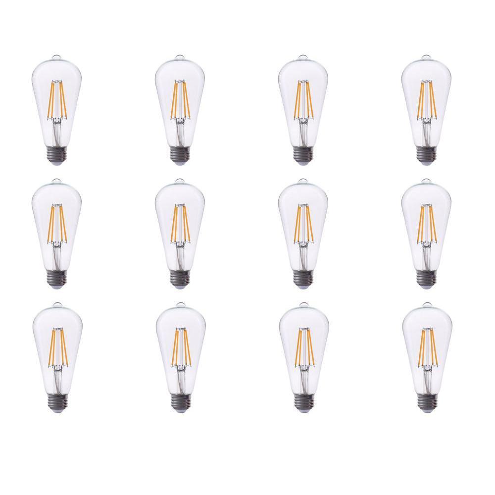 TriGlow 40-Watt Equivalent ST19 Dimmable Filament Glass LED Light Bulb Warm White 2700K (12-Pack)
