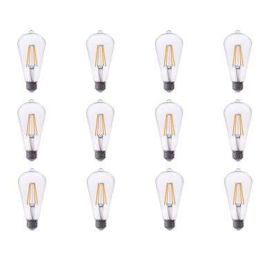 40-Watt Equivalent ST19 Dimmable Filament Glass LED Light Bulb Warm White 2700K (12-Pack)