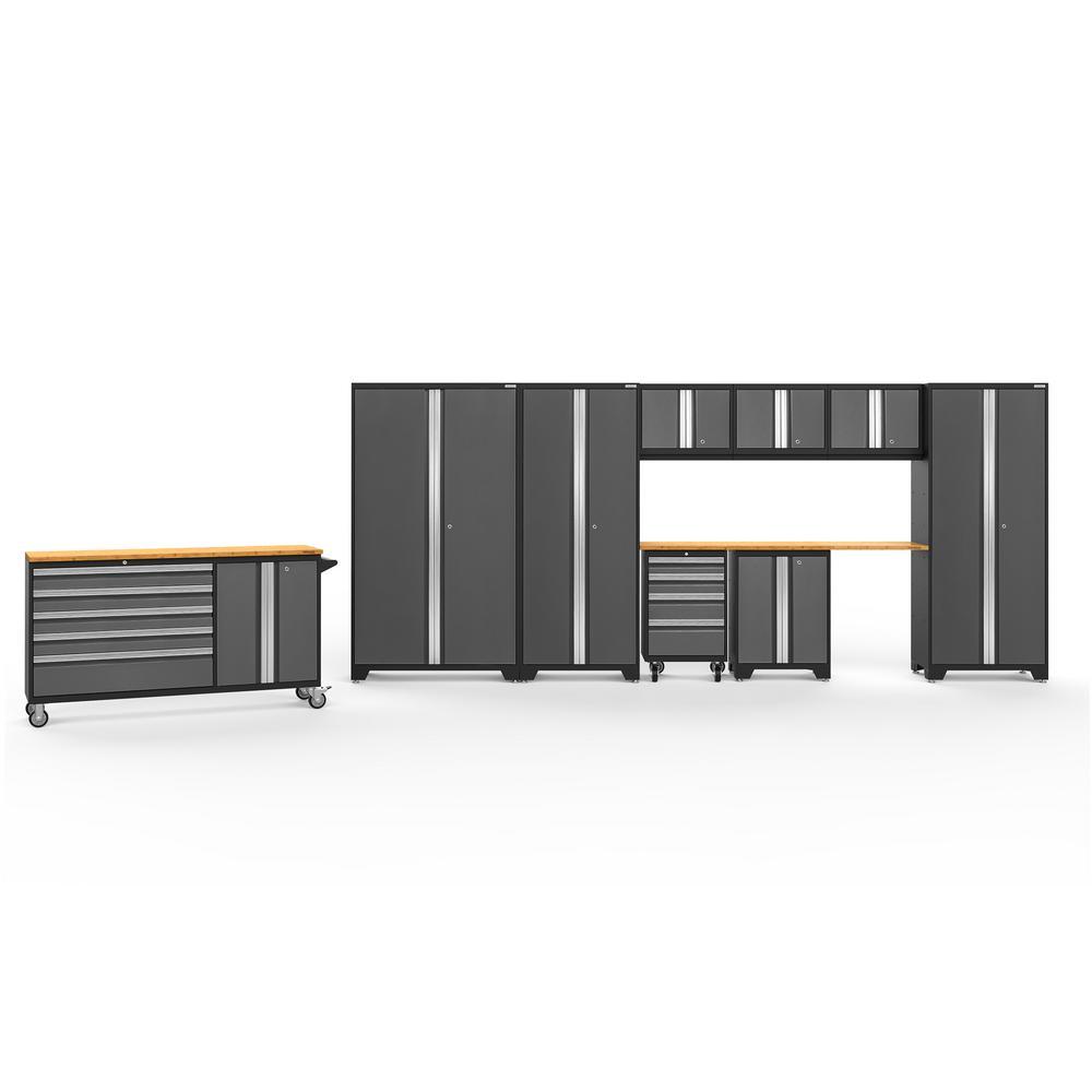 Bold Series 3.0 236 in. W x 77.25 in. H x 18 in. D 24-Gauge Welded Steel Garage Cabinet Set in Gray (10-Piece)