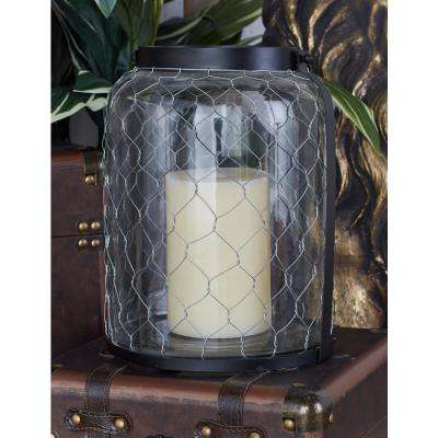 12 in. Black Chain-Wrapped Candle Lantern