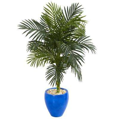 4.5 ft. High Indoor Golden Cane Palm Artificial Palm Tree in Blue Oval Planter