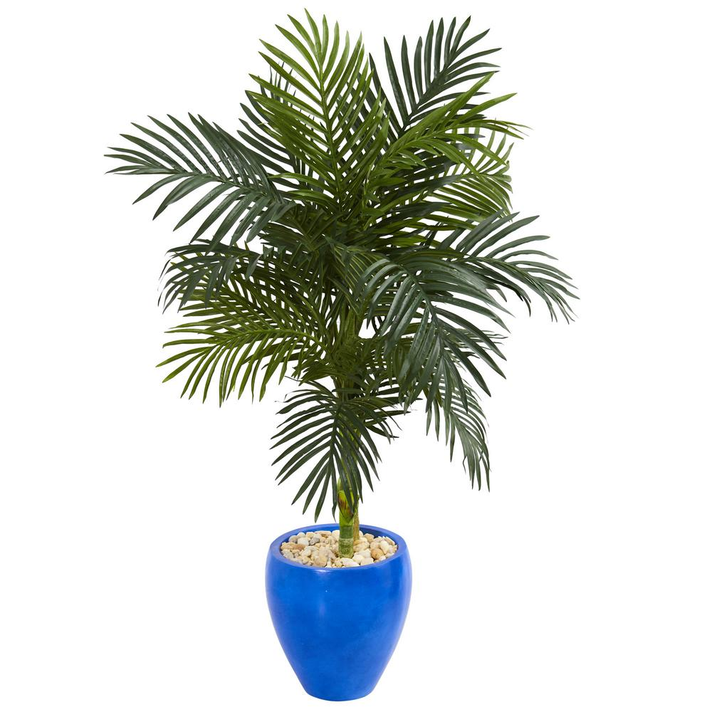 nearly natural 4 5 ft high indoor golden cane palm artificial palm tree in blue oval planter. Black Bedroom Furniture Sets. Home Design Ideas