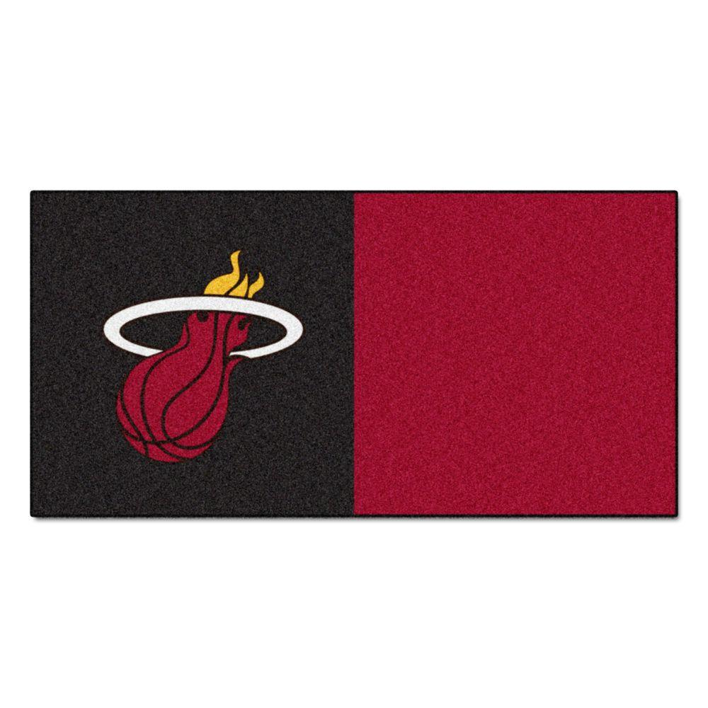 FANMATS NBA Miami Heat Black and Burgundy Pattern 18 in. x 18 in. Carpet Tile (20 Tiles/Case)