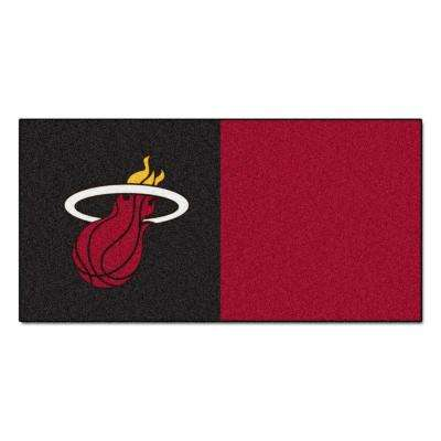 NBA Miami Heat Black and Burgundy Pattern 18 in. x 18 in. Carpet Tile (20 Tiles/Case)