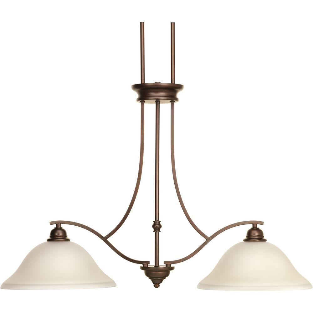 Progress Lighting Spirit Collection 2-Light Antique Bronze Chandelier with Light Umber Etched Glass