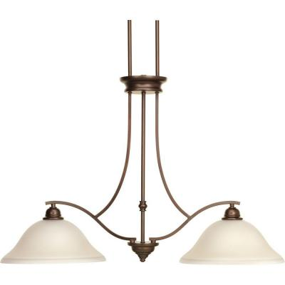 Spirit Collection 2-Light Antique Bronze Chandelier with Light Umber Etched Glass