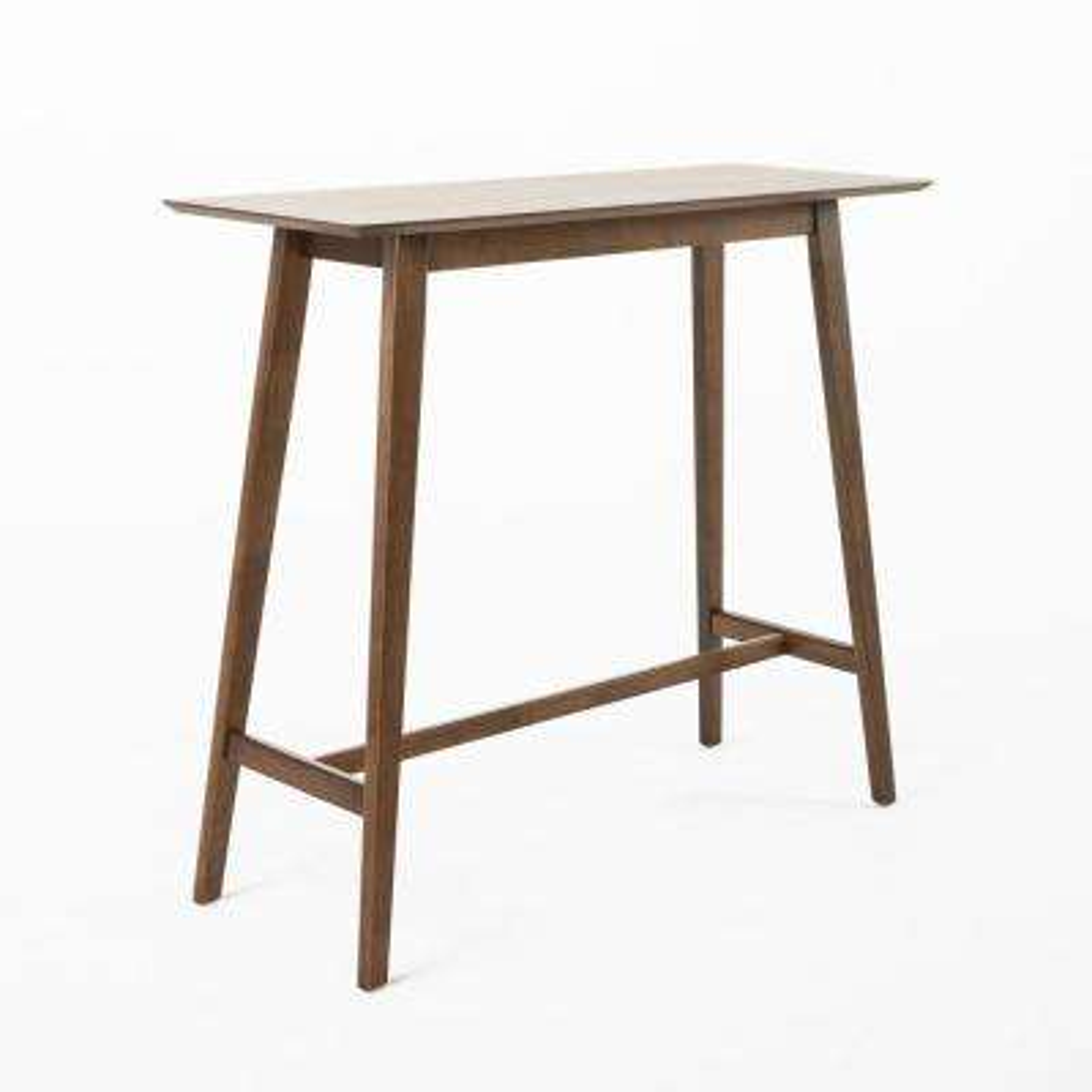 3-Piece Natural Walnut Wood and Dark Gray Fabric Bar Set