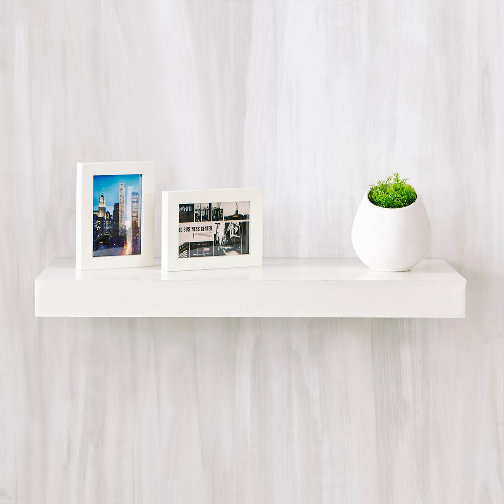Way Basics Way Basics Ravello 24 in. x 2 in. zBoard Paperboard Wall Shelf Decorative Floating Shelf in Natural White