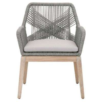 Loom Platinum Rope, Gray Teak Outdoor Arm Chair (Set of 2)