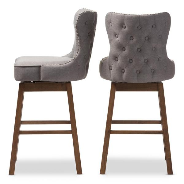 Baxton Studio Gradisca 31 in. Gray Fabric Upholstered Swivel Bar Stool (Set of 2)