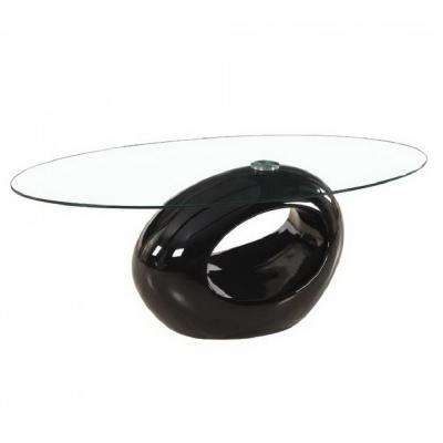 Glossy Black Oval Style Glass Coffee Tables