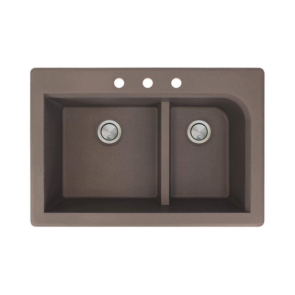 Radius Drop-in Granite 33 in. 3-Hole 1-3/4 J-Shape Double Bowl Kitchen Sink in Espresso