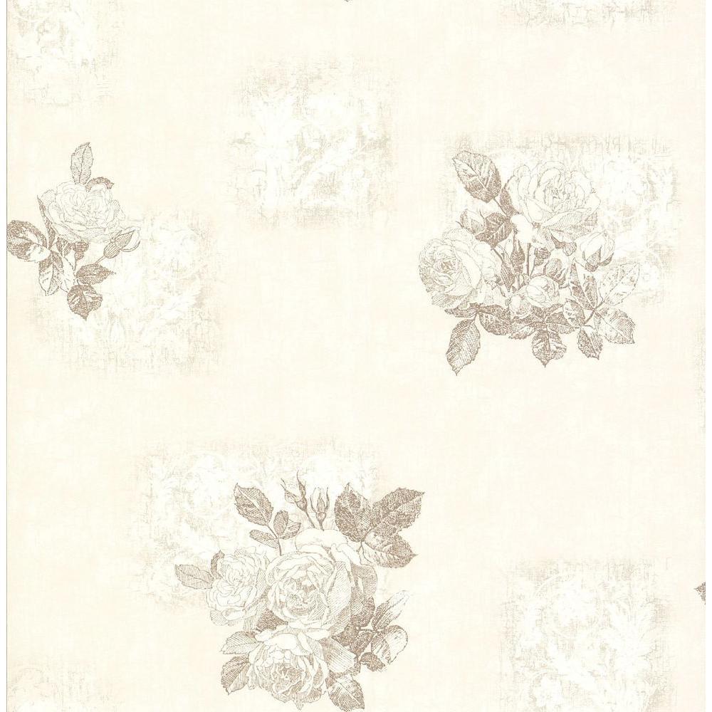 Brewster 8 in. W x 10 in. H Distressed Rose Print Wallpaper Sample