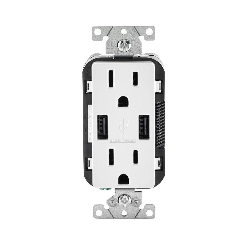 Leviton Decora 15 Amp Combination Duplex Outlet and USB Outlet, White by Leviton