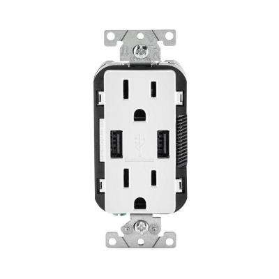 Decora 15 Amp Combination Duplex Outlet and USB Outlet, White