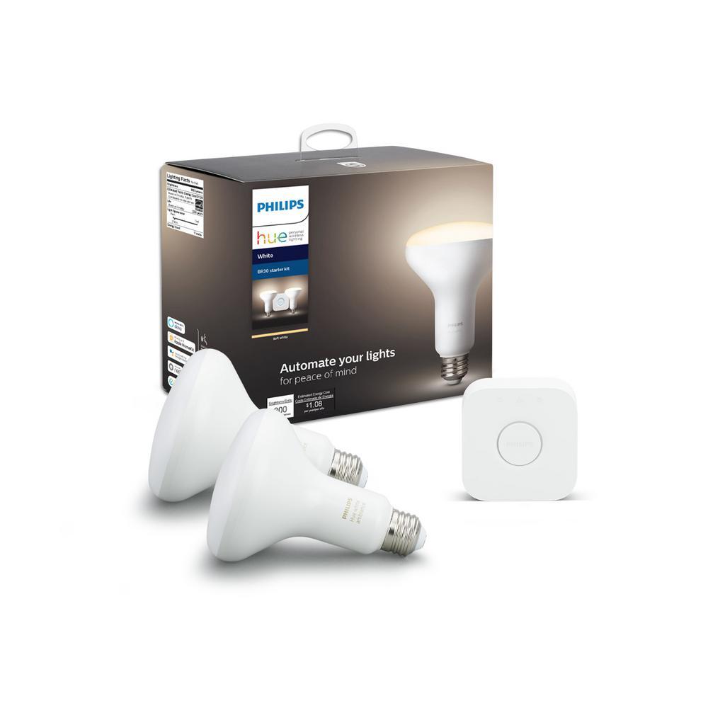 White BR30 LED 65W Equivalent Dimmable Wireless Smart Light Bulb Starter Kit (2 Bulbs and Bridge)