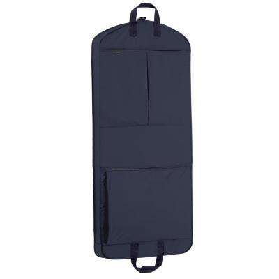 52 in. Navy Dress Length Carry-On XL Garment Bag with 2-Pockets and Extra Capacity
