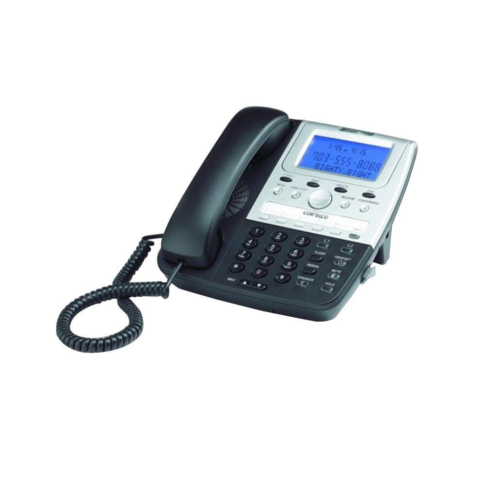 Cortelco Feature 2-Line Corded Telephone - Black