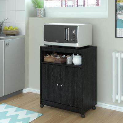 Shelton Black Ebony Ash Microwave Cart