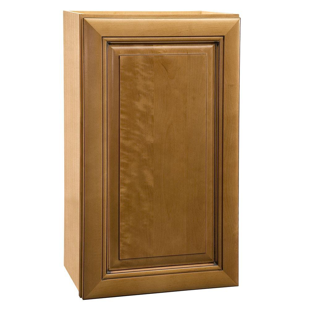 Home Decorators Collection Lewiston Assembled 21x36x12 in. Single Door Hinge Right Wall Kitchen Cabinet in Toffee Glaze
