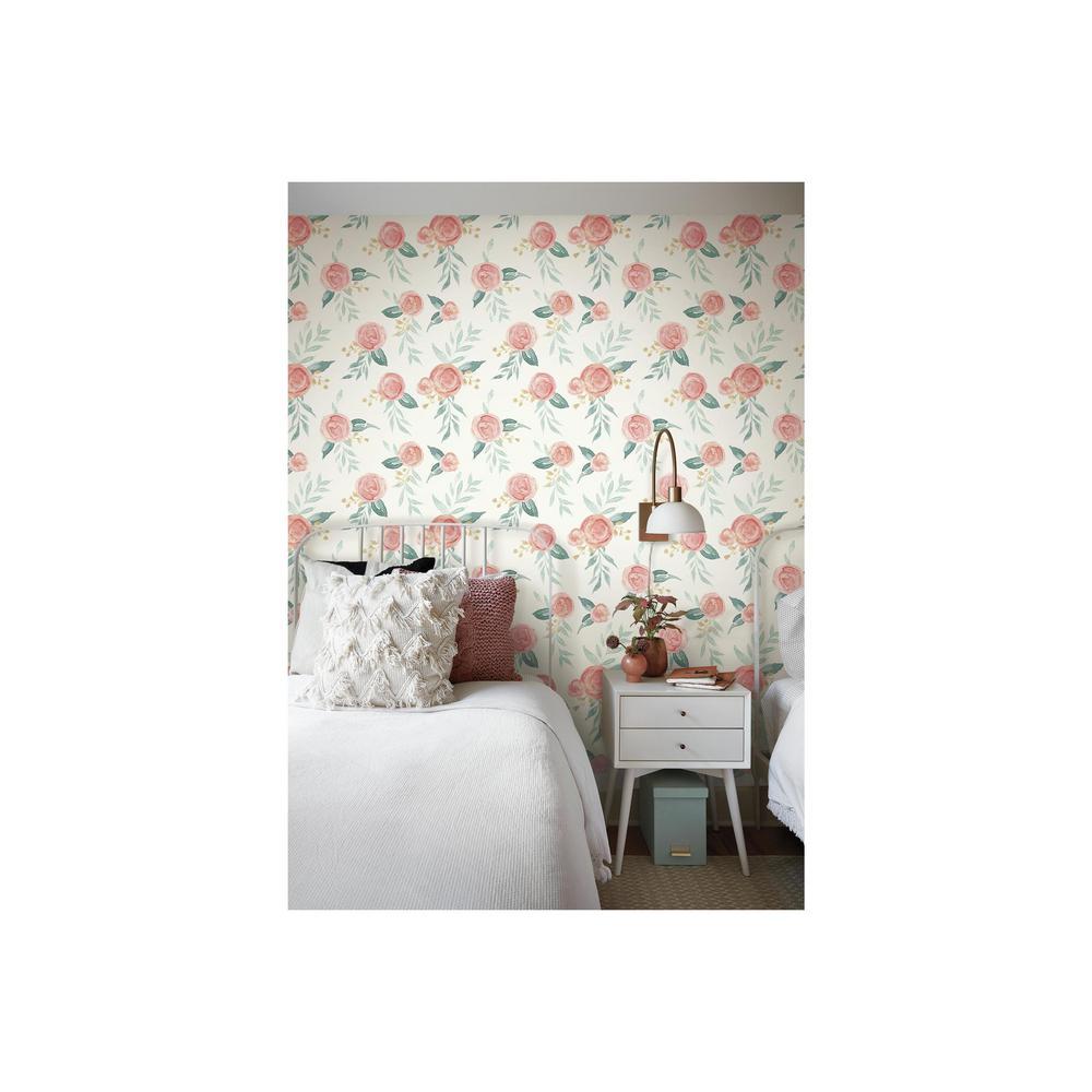 56 sq. ft. Watercolor Roses Wallpaper