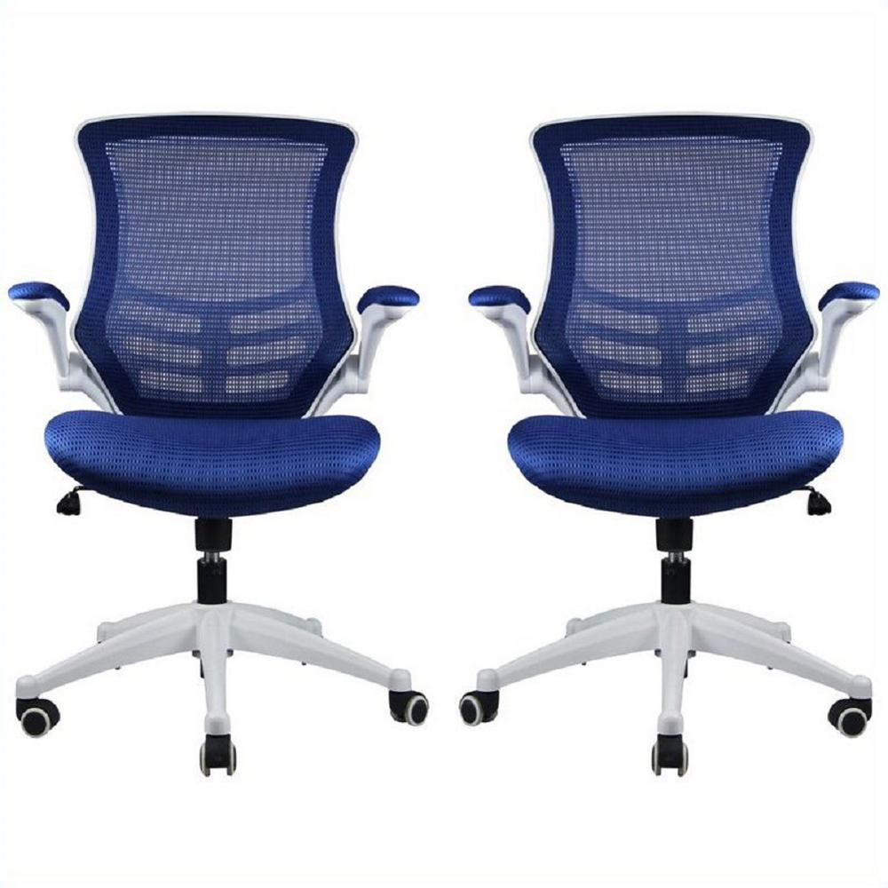 Manhattan comfort lenox mesh adjustable royal blue office for Blue office chair