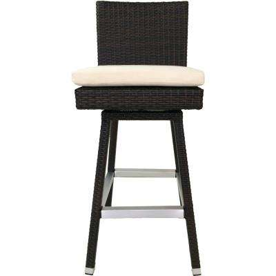 Hilton Swivel Wicker Patio 30 in. Bar Stool with Cushion (Set of 2)