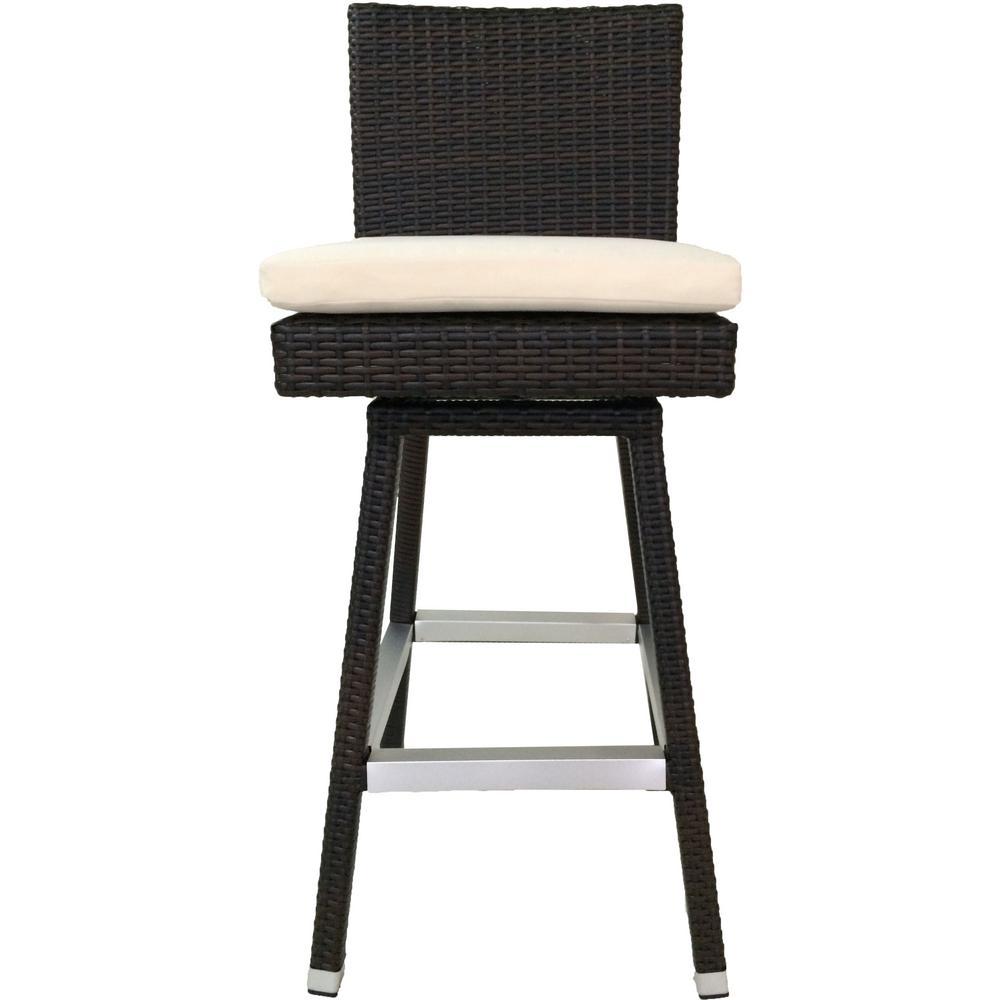 Hilton Swivel Wicker Patio 30 in. Bar Stool with Cushion (Set of 2)