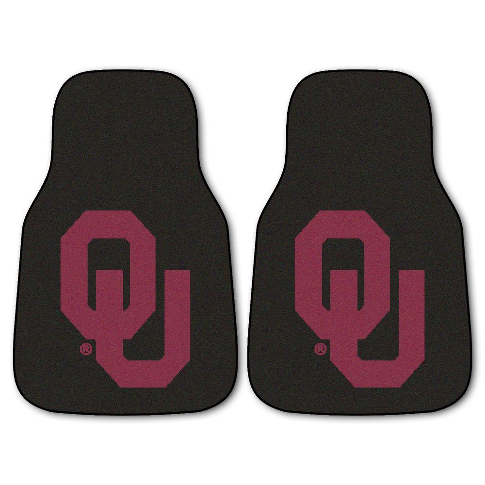 FANMATS University of Oklahoma 18 in. x 27 in. 2-Piece Carpeted Car Mat Set