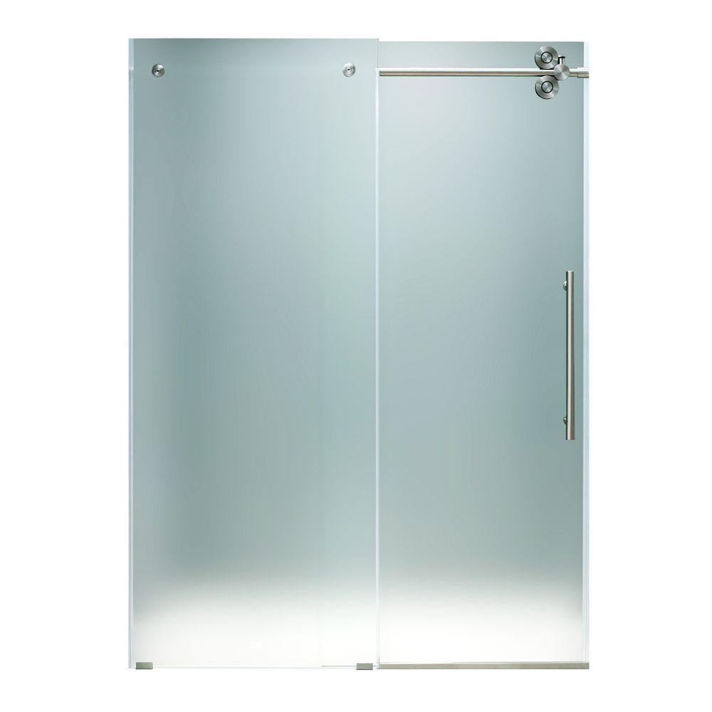 Vigo 48 in. x 74 in. Frameless Bypass Shower Door in Stainless Steel and Frosted Glass