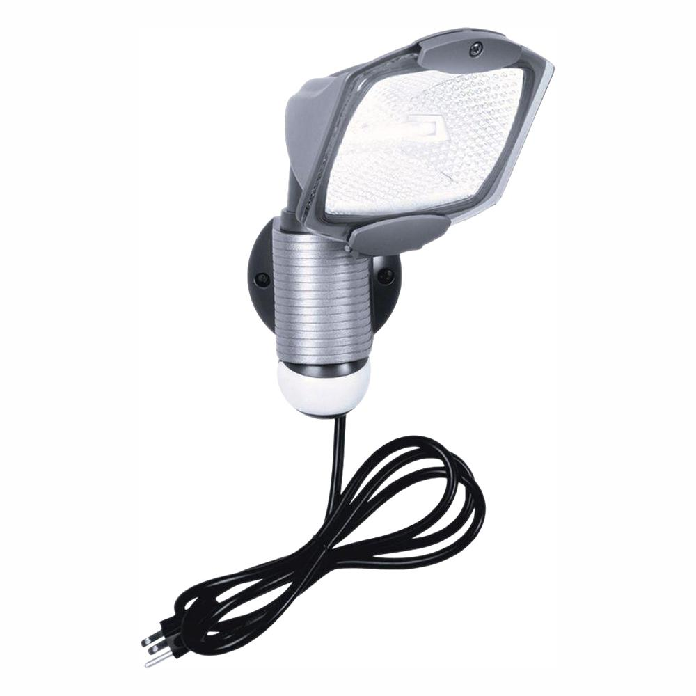 All-Pro 110° Outdoor Grey Quartz Halogen Motion Activated Plug-in Security Light