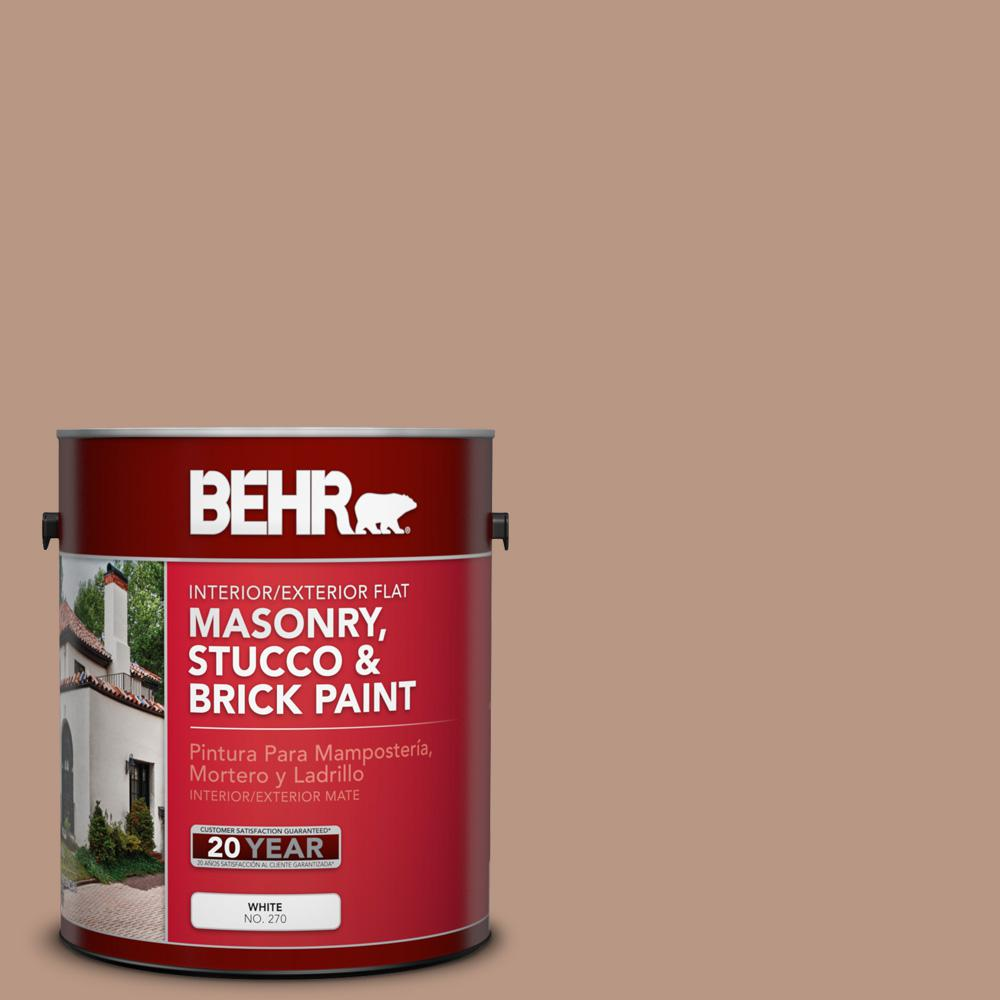 Behr 1 Gal 250f 4 Stone Brown Flat Interior Exterior Masonry Stucco And Brick Paint 27001