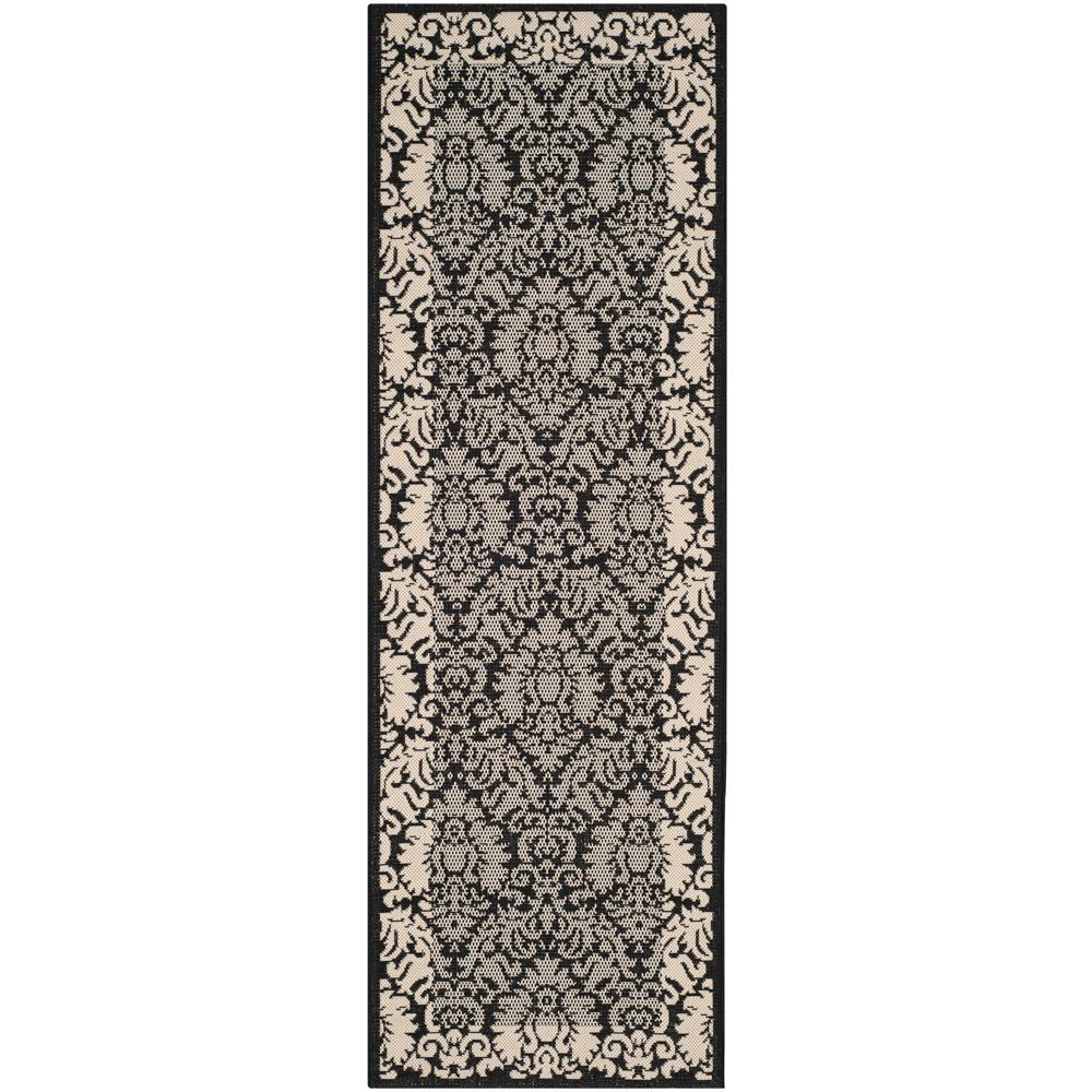 Safavieh Courtyard Black/Sand 2 ft. 3 in. x 10 ft. Indoor/Outdoor Runner