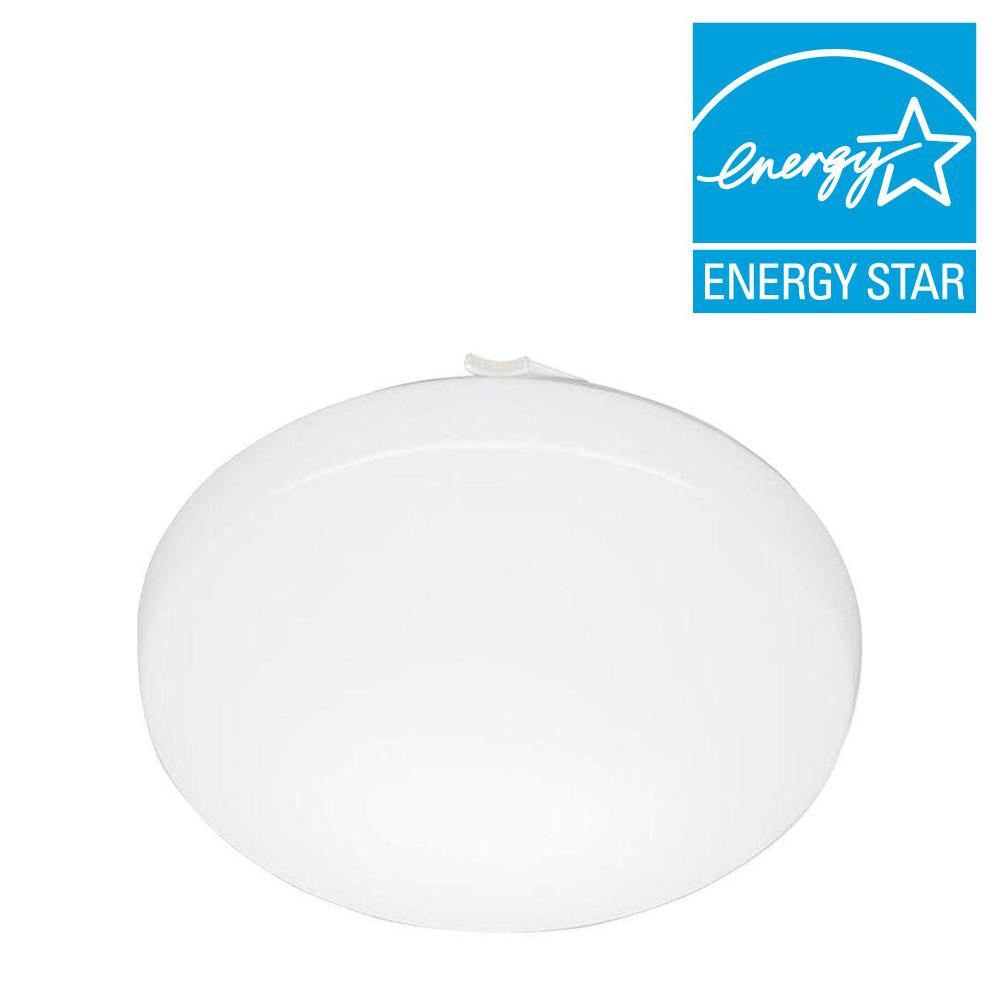 Lithonia lighting 11 in white led low profile residential round flush mount