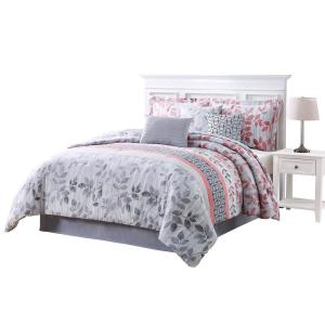 Click here to buy  Breezy Coral Gray King 7-Piece Reversible Comforter Set.