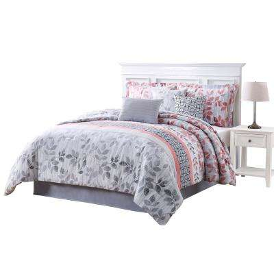 Breezy Coral Gray King 7-Piece Reversible Comforter Set